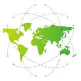 Groene wereldkaart en lege baanlijnen Illustratiemalplaatje Stock Afbeeldingen