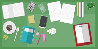 Groene werkruimtedesktop Stock Afbeeldingen
