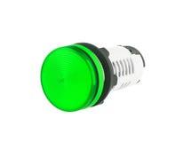 Groene Wijzende die Lamp op witte achtergrond wordt geïsoleerd Royalty-vrije Stock Fotografie