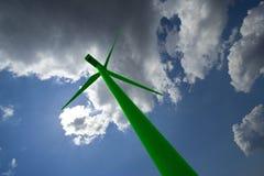 Groene windmolen royalty-vrije stock afbeeldingen