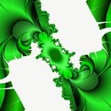 Groene witte fractal, het bloemrijke elegante fonkelen stelt lichten, textuur, abstracte achtergrond tegenover elkaar royalty-vrije stock afbeelding