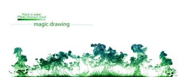 Groene wolken van verf in water Abstract cijfer Stock Afbeeldingen