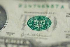Groene zegel op twee dollarrekening royalty-vrije stock foto's