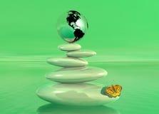 Groene zen, aarde en vlinder Royalty-vrije Stock Afbeelding