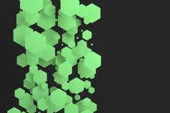 Groene zeshoeken van willekeurige grootte op zwarte achtergrond Royalty-vrije Stock Afbeelding