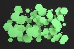 Groene zeshoeken van willekeurige grootte op zwarte achtergrond Stock Afbeelding