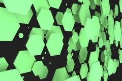 Groene zeshoeken van willekeurige grootte op zwarte achtergrond Stock Foto's