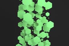 Groene zeshoeken van willekeurige grootte op zwarte achtergrond Stock Afbeeldingen