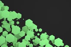 Groene zeshoeken van willekeurige grootte op zwarte achtergrond Royalty-vrije Stock Foto