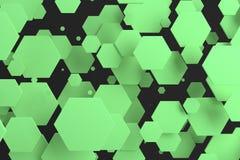 Groene zeshoeken van willekeurige grootte op zwarte achtergrond Royalty-vrije Stock Foto's