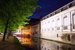Groenerei canal at night, Bruges, Belgium Royalty Free Stock Photos
