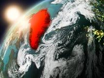 Groenland op aarde in zonsondergang Stock Afbeeldingen