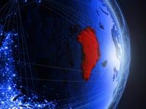 Groenland op blauwe blauwe digitale Aarde royalty-vrije stock afbeelding