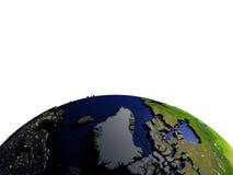 Groenland op model van Aarde met in reliëf gemaakt land Stock Fotografie