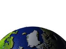 Groenland op model van Aarde met in reliëf gemaakt land Royalty-vrije Stock Afbeelding