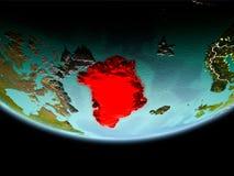Groenland in rood in de avond stock afbeelding
