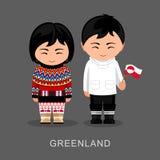 Groenlandeses en vestido nacional con una bandera stock de ilustración