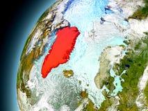 Groenlandia de la órbita de Earth modelo Fotos de archivo