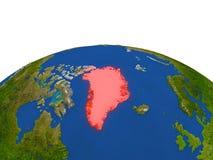 Groenlandia en rojo de la órbita ilustración del vector