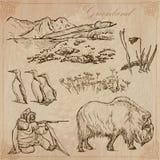 Groenlandia: Viaje en todo el mundo Dibujos del vector Imagen de archivo libre de regalías