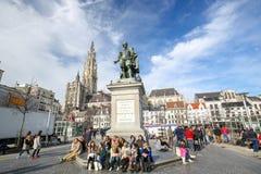 Groenplaats в Антверпене, Бельгии стоковые фотографии rf