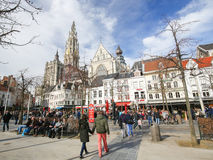 Groenplaats and Cathedral of Our Lady in Antwerp, Belgium Stock Photo