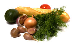 Groente en brood dat op wit wordt geïsoleerdl Royalty-vrije Stock Foto