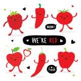 Groente en Fruitbeeldverhaal Leuke Vastgestelde Peper Rood Chili Tomato Apple Strawberry Vector Royalty-vrije Stock Fotografie