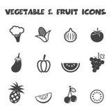 Groente en fruitpictogrammen Royalty-vrije Stock Afbeeldingen