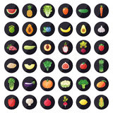 Groente en fruitpictogrammen vectorreeks Modern vlak ontwerp multicolored Stock Foto