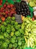 Groente in Griekenland op de markt Koop peper traveling royalty-vrije stock afbeelding