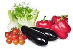Groente met geïsoleerde die tomaat, peper, venkel en aubergine wordt geplaatst Royalty-vrije Stock Fotografie