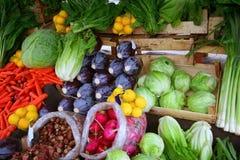 Groenten bij bazaar Stock Foto's