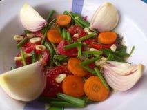 Groenten, decoratie en culinair art. Stock Foto's