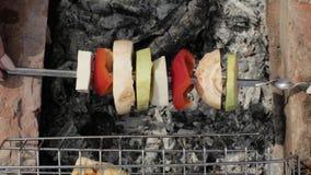 Groenten die op vleespen in barbecue dicht omhoog roosteren Het roosteren van groenten op brand stock videobeelden