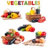 Groenten die op wit worden geïsoleerd Stock Foto's
