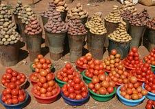 Groenten in een markt, Malawi, Afrika Royalty-vrije Stock Foto's