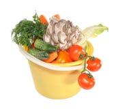 Groenten in een plastic emmer Royalty-vrije Stock Afbeeldingen