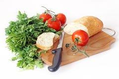 Groenten en brood Stock Afbeelding