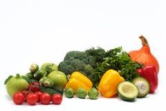 Groenten en kruiden op witte achtergrond Stock Afbeelding