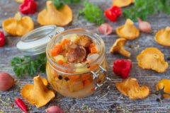 Groenten en paddestoelencantharellen in een glaskruik Royalty-vrije Stock Foto