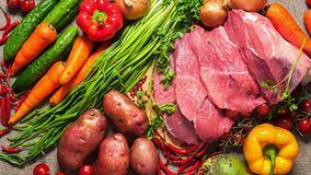 Groenten en vlees Royalty-vrije Stock Fotografie