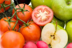 Groenten en vruchten. Stock Foto's