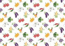 Groenten en Vruchten geplaatste pictogrammen en tekenspatroon Stock Afbeelding