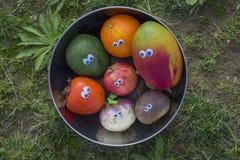 Groenten en vruchten met grappige ogen Royalty-vrije Stock Foto's