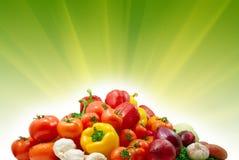 Groenten en zonnige achtergrond Stock Foto's