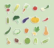 Groenten gekleurde pictogrammen Stock Fotografie