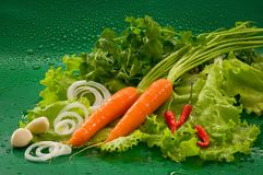 Groenten - gewassen wortel, roodgloeiende Spaanse peperpeper, gepeld knoflook, sla, peterselie stock foto