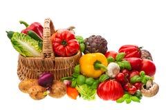 Groenten. het winkelen mand. gezonde voeding Stock Afbeelding