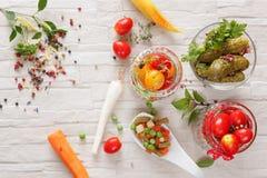 Groenten in het zuur Stock Foto